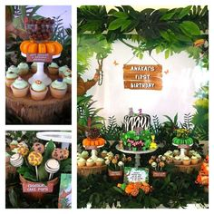 Themed cupcakes at a jungle first birthday party! See more party ideas at CatchMyParty.com!