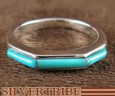 Genuine Sterling Silver Turquoise Ring Size 7-1/4 RS46725