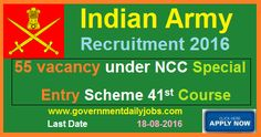 INDIAN ARMY RECRUITMENT FOR NCC SPECIAL ENTRY SCHEME 2016 ~ Government Daily Jobs