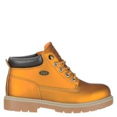 Glow for fall in the Shifter Matte Metallic Lace Up Boot from Lugz.  Matte metallic Permahide upper in a lace up work boot style with a round toe Lace up front with metallic hardware Padded collar Smooth lining, cushioning insole Rubber lug outsole