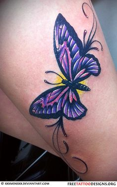 60 Awesome free butterfly tattoo designs + the meaning of butterfly tattoos. Designs include: feminine, tribal and lower back butterfly tattoos. Lila Tattoos, Purple Tattoos, Rose Tattoos, Hand Tattoos, Small Tattoos, Sleeve Tattoos, Tatoos, Purple Butterfly Tattoo, Butterfly Tattoos For Women
