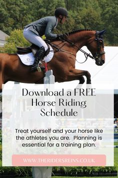 Use this download to fast track your horse's training and riding goals. Plan Your Riding Goals Track your horse's training Plan your riding week & More! Horse Training, Training Plan, Goal Tracking, Horse Exercises, Horse Riding Tips, Free Horses, Show Jumping, Dressage, How To Plan