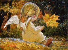 Maple Leaf Angel Girl by Victor Nizovtsev Victor Nizovtsev, I Believe In Angels, Ange Demon, Angels Among Us, Angel Pictures, Guardian Angels, Angel Art, Christmas Angels, Illustrators