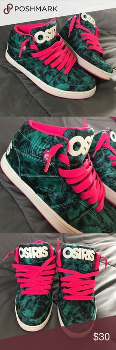 Osiris Shoes Size 7.5, Style Convoy Mid. Hot pink, black & teal marble look, w/ a white Sole. Gently used, only worn 1 time, & still very clean. Osiris Shoes Sneakers
