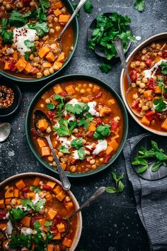 This Moroccan-spiced stew is packed with chickpeas, lentils, tomatoes and sweet potatoes. It's gluten free, vegan, and ready in about 45 minutes. Lentil Recipes, Curry Recipes, Soup Recipes, Vegetarian Recipes, Healthy Recipes, Healthy Food, Chickpea Stew, Lentil Stew, Moroccan Chickpea Soup