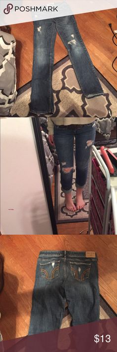 Ripped Blue Wash Hollister Jeans Ripped Blue Wash Hollister Jeans Size 5R Hollister Jeans Straight Leg