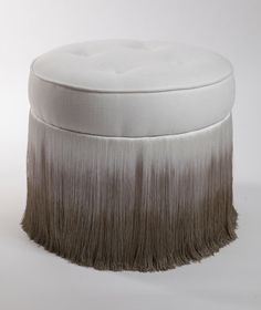 Luxurious deep buttoned ottoman complimented by an exquisite contemporary dip dye fringe detail Dimensions: 490 mm diameter x 400 mm (H) Design also available in pink Bench Furniture, Furniture Upholstery, Furniture Styles, Furniture Design, Furniture Board, Diy Ottoman, Ottoman Footstool, Tie And Dye, Soft Seating