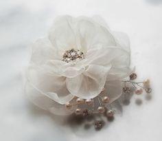 Ivory Hair Flower Bridal Fascinator Silk Organza by TheRedMagnolia, $50.00