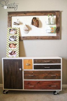 Modern Patchwork Dresser - plans to build on ana-white.com. Could be great for bedroom - customize size to fit the space & change rolling casters
