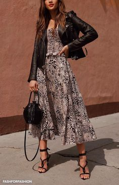 How To Create The Ultimate Capsule Wardrobe For Spring, Spring Outfits, Perfect Spring outfit. Strappy sandals with midi tea dress and leather jacket Look Fashion, Spring Fashion, Autumn Fashion, Street Fashion, Lolita Fashion, Fashion Beauty, Mode Outfits, Fashion Outfits, Womens Fashion