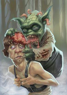 Zombie Yoda Chewing on Luke Skywalker Zombie Kunst, Zombie Art, Zombie Life, Luke Skywalker, Photomontage, Zombies, Nerd Kunst, Empire Of The Dead, Zombie Illustration