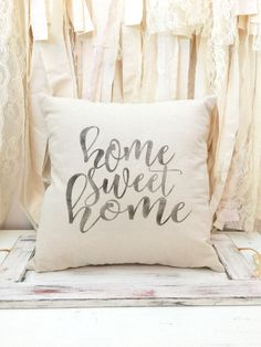 Home Sweet Home pillow COVER - housewarming gift - farmhouse pillow - natural canvas - wedding gift by ShamarasPrettyThings on Etsy https://www.etsy.com/listing/495036620/home-sweet-home-pillow-cover