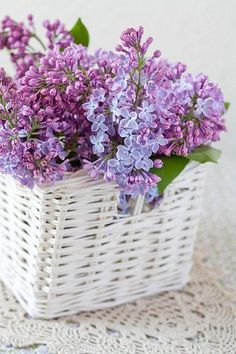 lilacs in white basket with crochet doily...