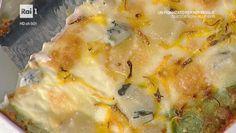 """La ricetta delle lasagne di crespelle verdi con zucca e toma di Sergio Barzetti del 5 ottobre 2016, a """"La prova del cuoco""""."""