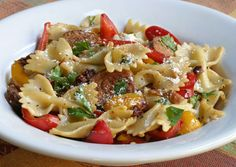 Bow Tie pasta, Italian sausage, sweet peppers, garlic, parsley and sundried tomatoes, flavored with chicken or vegetable broth & topped with Parmesan cheese.