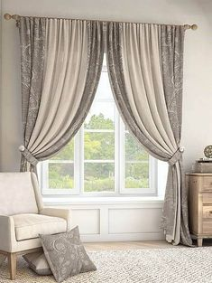 Living Room Decor Curtains, Home Curtains, Curtains With Blinds, Bedroom Window Curtains, Kitchen Curtains, Bedroom Decor, Curtain Styles, Curtain Designs, Curtain Ideas