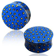 PAIR-OF-WOODEN-HAND-PAINTED-PLUGS-BLUE-YELLOW-BLACK-POLKA-DOTS-GAUGES-PLUGS-EAR