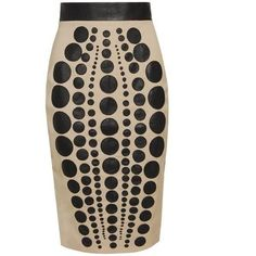 Laser Cut Leather and Wool Pencil Skirt - Lyst ❤ liked on Polyvore