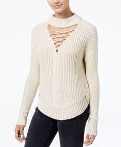 American Rag Juniors' Lace-Up Choker Sweater, Created for Macy's - Ivory/Cream XXS