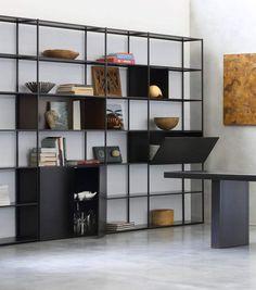 Metal Bookcase, Modern Bookshelf, Wall Bookshelves, Bookshelf Design, Modern Shelving, Metal Shelves, Room Divider Bookcase, Bureau Design, Minimalist Furniture