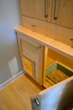 Cat Training Litter Box Innovative litter box cabinet in Spaces Contemporary with Kitty Door next to Cat Litter Ideas alongside Cat Closet and Cat Litter Box Diy Litter Box, Litter Box Enclosure, Laundry Room Doors, Laundry Room Design, Laundry Closet, Cat Litter Cabinet, Cat Toilet, Dog Rooms, Cat Room