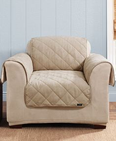 Sure Fit Soft Suede & Sherpa Pet Chair Slipcover Throw