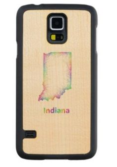 Rainbow Indiana map Maple Galaxy S5 Case $49.65 *** Rainbow Indiana state map from multicolored curved lines - Samsung Galaxy S5 wood case