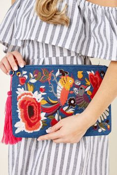 Fun In Acapulco Blue Embroidered Clutch at reddressboutique.com