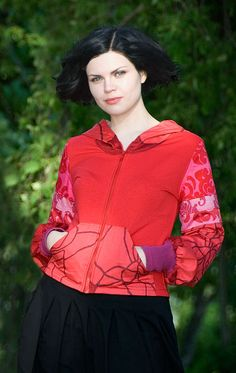 Red Hoodie mad from upcycled materials by yanay. Boho Inspiration, Made Clothing, Red Hoodie, Upcycle, Ruffle Blouse, Athletic, Hoodies, Jackets, Handmade