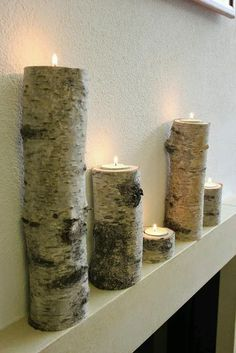 Tealight holder candle holder made of birch tree trunk - Barcelona Tea Light Candles, Pillar Candles, Tea Lights, Woodworking Projects Plans, Custom Woodworking, Aspen Trees, Tealight Candle Holders, Tea Light Holder, Diy Hacks