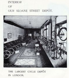 The interior of Sunbeam Bicycles Sloane Street showroom. The largest cycle depot in London. The first Sunbeam bicycles were exhibited at the Stanley Show in London during February 1889. In May 1889 the company opened a London showroom and depot at 38 Holborn Viaduct and soon moved to larger premises at 51 Holborn Viaduct. In 1895 the business was incorporated under the Companies Act as John Marston Limited, and in the following year three more depots were opened. One at 157 Sloane Street.