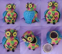 Handmade owl - newspaper weaving