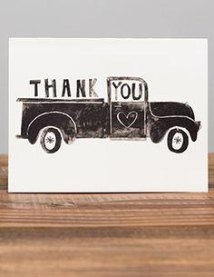 Pick Up an illustrated greeting card by #pixar artist, Chris Sasaki   Red Cap Cards #pickuptruck #truck #vintage #thanks #thankyou #illustration