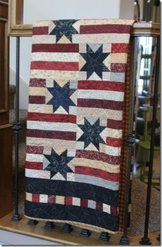stars and stripes- I've been wanting a good quilt for a while but couldn't imagine what print it should be.. Why didn't I think of patriotic??!! Right up my ally.