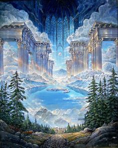 A dump — John Stephens art Fantasy Places, Fantasy World, Dark Fantasy, Art Visionnaire, Prophetic Art, Fantasy Castle, Visionary Art, Fantasy Landscape, Fantastic Art