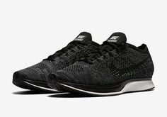 """The Nike Flyknit Racer is back in a new """"Blackout"""" colorway, slated to release…"""