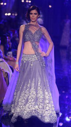 MM Lakme Fashion Week 2014 grey shaded #heavyembroidered #lehengacholi