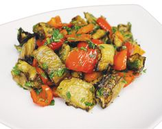 Bulgarian Appetizer from #YummyMarket. Baked Eggplant, Sweet Pepper with Fresh Herbs and Garlic Oil Dressing.