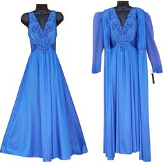 Gorgeous, vintage blue Olga nightgown and matching peignoir size large; unworn with original tags.