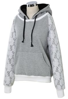 Grey with Lace Sleeves Hoodie
