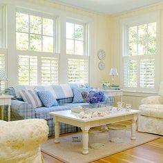 Coziness of blue and white.