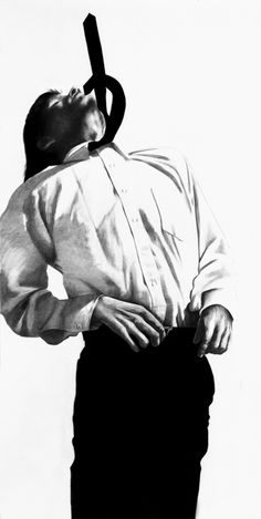 Robert Longo, Untitled, 1982 Charcoal, graphite on paper, Men in Cities Series