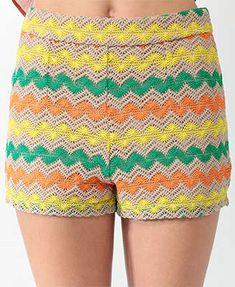 pantalones cortos de ganchillo zig-zag
