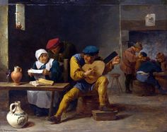 'Peasants making Music in an Inn' by David The Younger Teniers (1610-1690, Belgium)