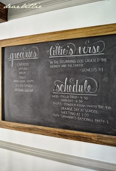 Dear Lillie: An Oversized Chalkboard and Bench In the Kitchen.