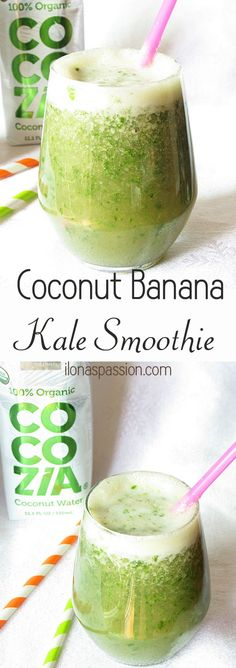 Healthy kale smoothie with banana and a hint of coconut by http://ilonaspassion.com #kale #smoothie #cocozia #banana