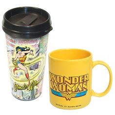 Wonder Woman Mug Combo Set.  11 oz mug and 14 oz travel mug. This would make a great gift for a girlfriend, Mom, Aunt or Grandma!!