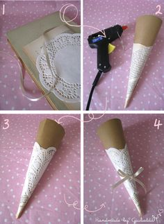 Wrap newsprint or sheet music around a cone shape, glue. Add a doily. Remove cone