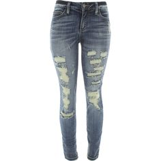 Cello Jeans - Women's Fron Rips Skinny Jeans - Dark Blue