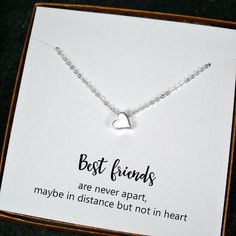 Best Friend Gift - Simple Heart Charm Necklace, Sterling Silver